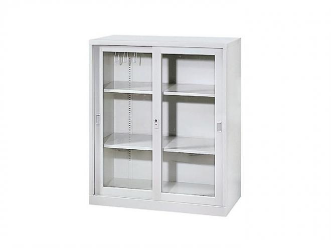 三層式玻璃加框拉門櫃