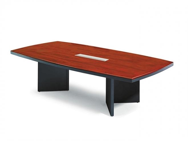 全木皮船型會議桌-花梨木色